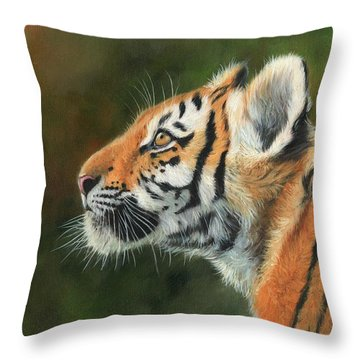 Young Amur Tiger  Throw Pillow by David Stribbling
