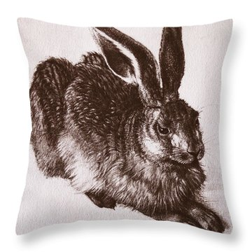 Young Hare Throw Pillow