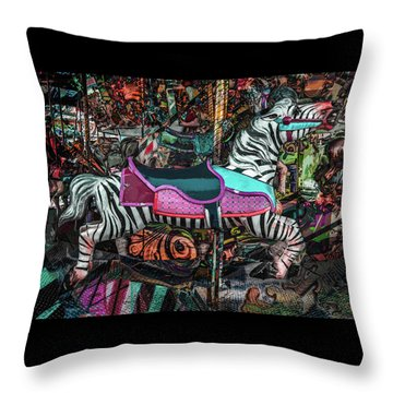 Throw Pillow featuring the photograph Zebra Carousel by Michael Arend
