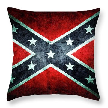 Throw Pillow featuring the photograph Confederate Flag by Les Cunliffe