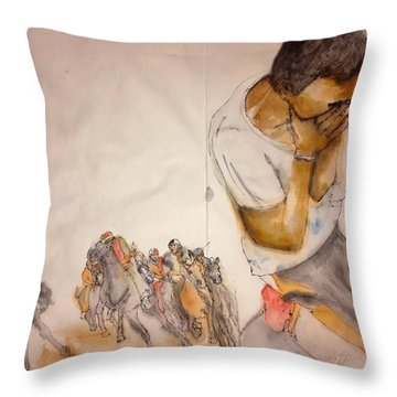 Throw Pillow featuring the painting Il Palio Contrada  Lupa Album by Debbi Saccomanno Chan