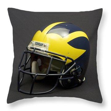 Throw Pillow featuring the photograph 2000s Era Wolverine Helmet by Michigan Helmet