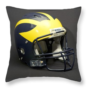 Throw Pillow featuring the photograph 2000s Wolverine Helmet by Michigan Helmet