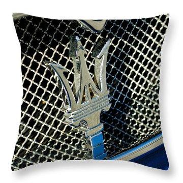 2002 Maserati Combiocorsa Spyder Hood Ornament Throw Pillow by Jill Reger