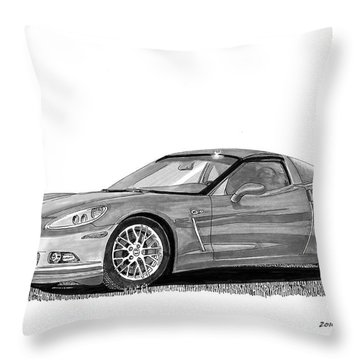 Throw Pillow featuring the painting  Corvette Roadster, Silver Ghost by Jack Pumphrey