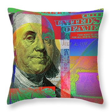 2009 Series Pop Art Colorized U. S. One Hundred Dollar Bill No. 1 Throw Pillow
