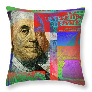 2009 Series Pop Art Colorized U. S. One Hundred Dollar Bill No. 1 Throw Pillow by Serge Averbukh