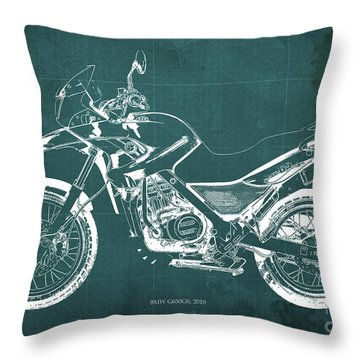 2010 Bmw G650gs Vintage Blueprint Green Background Throw Pillow