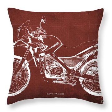 2010 Bmw G650gs Vintage Blueprint Red Background Throw Pillow