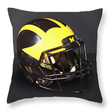 Throw Pillow featuring the photograph 2010s Wolverine Helmet by Michigan Helmet