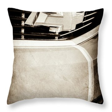 Throw Pillow featuring the photograph 2011 Chevrolet Camaro Grille Emblem -0321s by Jill Reger