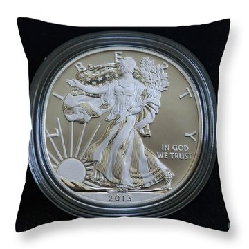 Throw Pillow featuring the photograph 2013 Enhanced Uncirculated Silver Eagle Dollar Coin by Randy Steele