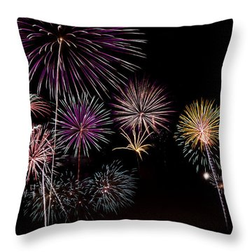 2013 Fireworks Over Alton Throw Pillow by Andrea Silies