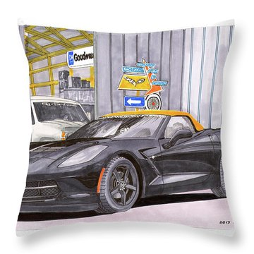 Throw Pillow featuring the painting 2014 Corvette And Man Cave Garage by Jack Pumphrey