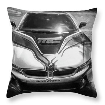 2015 Bmw I8 Hybrid Sports Car Bw Throw Pillow by Rich Franco