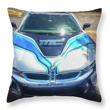 Throw Pillow featuring the photograph 2015 Bmw I8 Hybrid Sports Car by Rich Franco