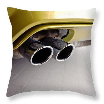 Throw Pillow featuring the photograph 2015 Bmw M4 Exhaust by Aaron Berg