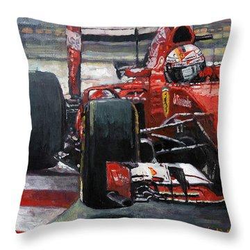 2015 Hungary Gp Ferrari Sf15t Vettel Winner Throw Pillow