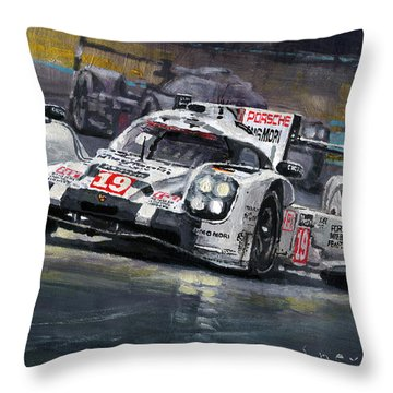 2015 Le Mans 24 Lmp1 Winner Porsche 919 Hybrid Bamber Tandy Hulkenberg Throw Pillow