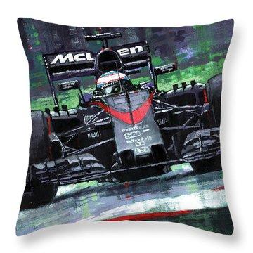 2015 Mclaren Honda F1 Austrian Gp Alonso  Throw Pillow by Yuriy Shevchuk