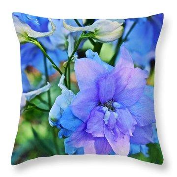 2015 Mid September At The Garden Larkspur 2 Throw Pillow