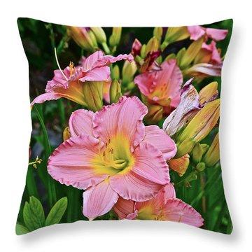 2015 Summer At The Garden Daylilies 1 Throw Pillow