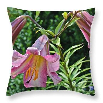 2015 Summer At The Garden Lilies In The Rose Garden 2 Throw Pillow