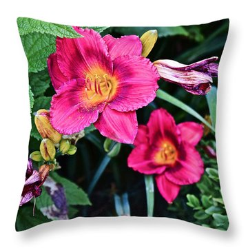 2015 Summer At The Garden Strawberry Candy Daylily 2 Throw Pillow
