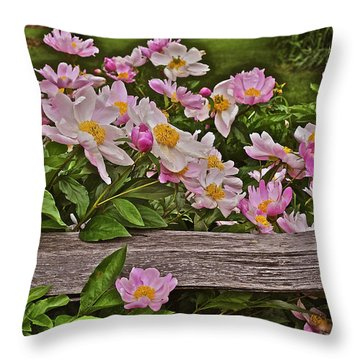 2015 Summer's Eve Front Yard Peonies 1 Throw Pillow