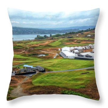 2015 Us Open Preparations  Throw Pillow by Chris Anderson