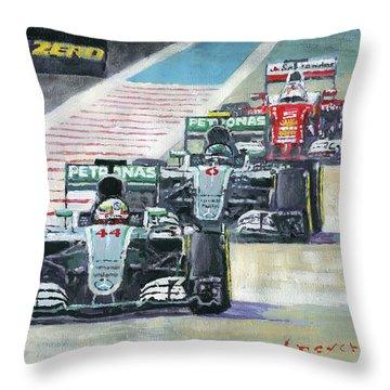2016 Abu Dhabi Gp Mercedes Hamiltom Rosberg Ferrari Vettel Throw Pillow by Yuriy Shevchuk