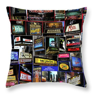 Throw Pillow featuring the photograph 2016 Broadway Spring Collage by Steven Spak