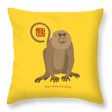 2016 Chinese New Year Of The Monkey Throw Pillow by Jit Lim