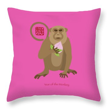 2016 Chinese Year Of The Monkey With Peach Throw Pillow