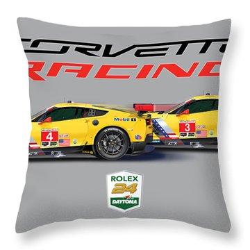 2016 Daytona 24 Hour Corvette Poster Throw Pillow by Alain Jamar