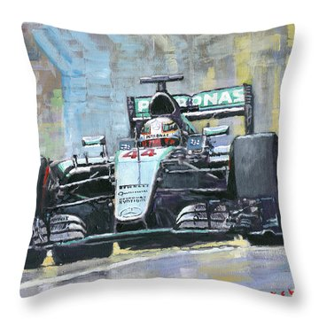 2016 Monaco Gp Mercedes Amg Petronas Hamilton  Throw Pillow by Yuriy Shevchuk