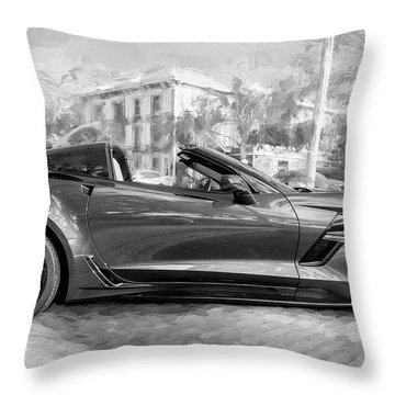 Throw Pillow featuring the photograph 2017 Chevrolet Corvette Gran Sport Bw by Rich Franco