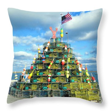 2017 Lobster Pot Tree  Throw Pillow