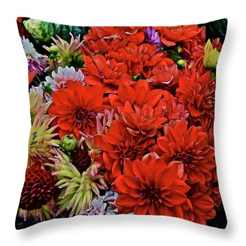 2017 Mid October Monona Farmers' Market Buckets Of Blossoms 1 Throw Pillow