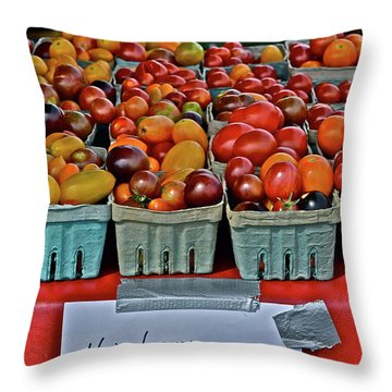 2017 Monona Farmers' Market August Heirloom Cherry Tomatoes Throw Pillow