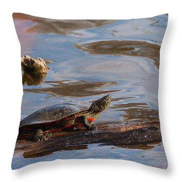 2017 Painted Turtle Throw Pillow by Edward Peterson