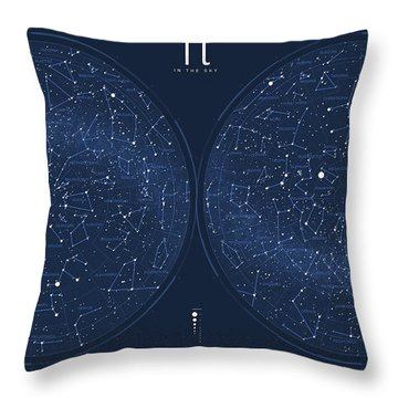 2017 Pi Day Star Chart Azimuthal Projection Throw Pillow by Martin Krzywinski