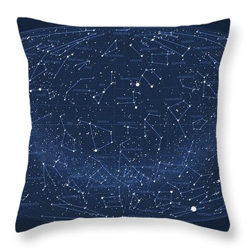 2017 Pi Day Star Chart Hammer/aitoff Projection Throw Pillow by Martin Krzywinski