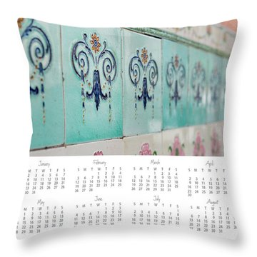 Throw Pillow featuring the photograph 2017 Wall Calendar Blue Ceramic Tiles by Ivy Ho
