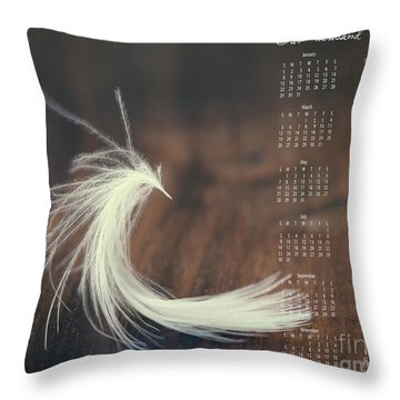 Throw Pillow featuring the photograph 2017 Wall Calendar Feather by Ivy Ho