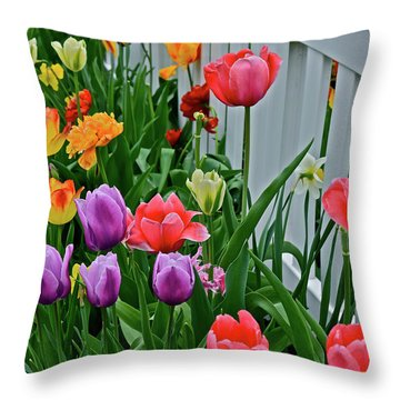 Throw Pillow featuring the photograph 2018 Acewood Tulips Against The White Fence 2 by Janis Nussbaum Senungetuk