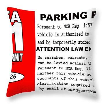 2018 Area 51 Parking Permit Throw Pillow