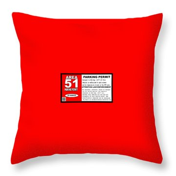 2018 Area 51 Parking Permit Throw Pillow
