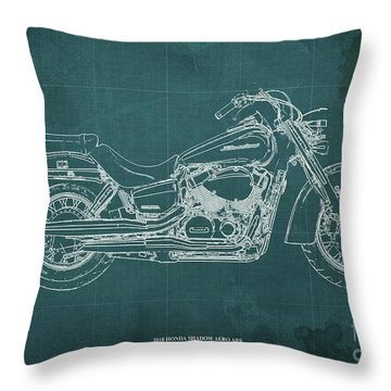 2018 Honda Shadow Aero Abs Blueprint Ghreen Background Gift For Bikers Throw Pillow