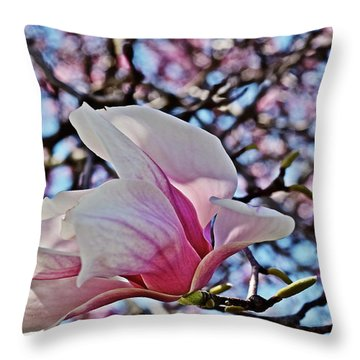 Throw Pillow featuring the photograph 2018 Vernon Magnolias 2 by Janis Nussbaum Senungetuk